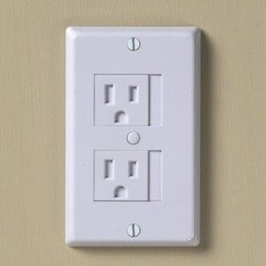 babyproof outlet covers - just slide over to use, and closes automatically when you unplug. Way cool!
