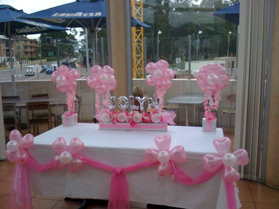 Balloon centerpieces christening and balloons on pinterest for Balloon decoration ideas for christening