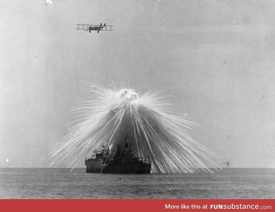Testing a white phosphorous bomb over the USS Alabama [1921]