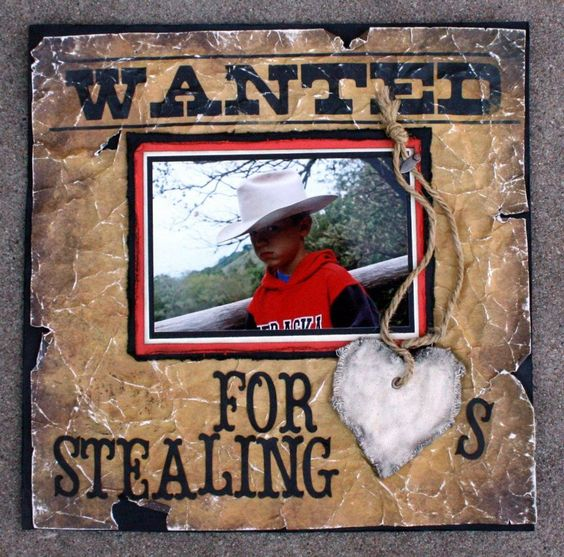 Wanted for stealing hearts scrapbook ideas pinterest id es amour et i - Idee scrapbooking amour ...