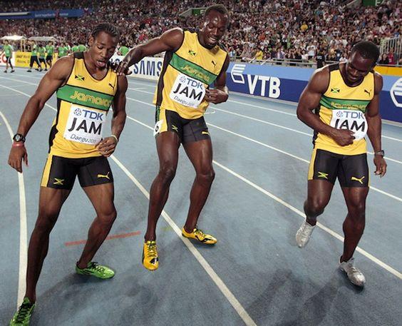 London Olympics Jamaica sprinters Johan Blake & Usain Bolt www.joggingtoloseweight.org