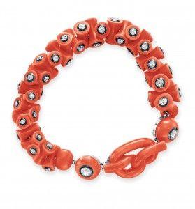 A coral, diamond and enamel bracelet. Courtesy of Cristie's Images LTD. 2013.: