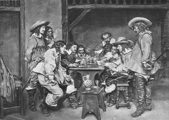"""Soldiers playing cards during the 1630s - """"Whatever nation they were from, soldiers would often be found playing cards, whether in an inn as shown, or in the field using a drum as a card table. Gambling was often part of the game. Soldiers in Canada were no different than elsewhere although they would not have worn boots with spurs as shown in this illustration of soldiers in France."""""""