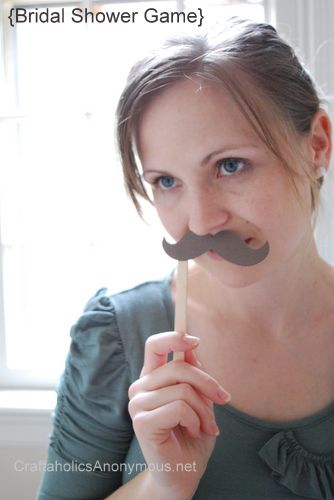i don't know... Staches and Tiaras: a bridal shower game {FREE printable} on http://www.craftaholicsanonymous.net