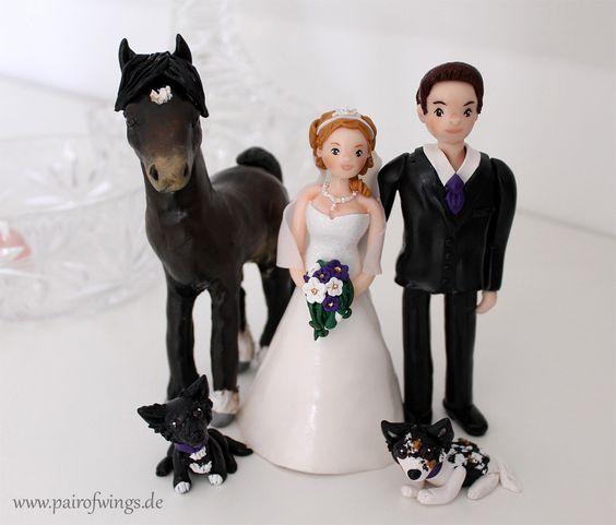 individualisierte Hochzeitstortenfiguren Brautpaar Hund Pferd Haustier handgemacht Tortenfigur von www.pairofwings.de
