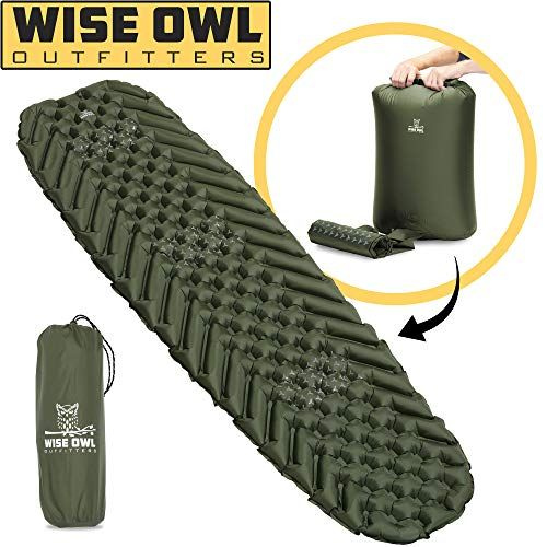 Wise Owl Outfitters Camping Pad Premium Inflatable Camping Sleeping Pad For Outdoor And Backpacking Ultralight Compressible Camping Mat Bubble Gear Design Camping Pad Camping Sleeping Pad Camping Mat