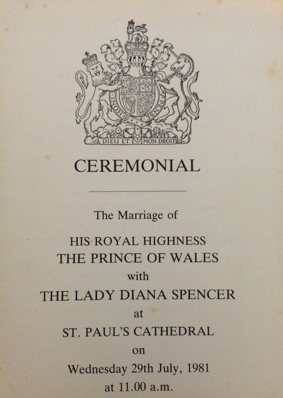 The actual Ceremonial Program giving details of the ceremony of the Marriage of Prince Charles to Lady Diana Spencer. This is from my personal collection. Very Rare Photo by Rebecca Hathaway #Princess Diana #Princess Diana memorabilia #Royal Wedding