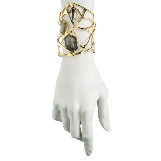 Liquid Gold Large Pyrite Doublet Interlaced Cuff::Bracelets::Jewelry By Category::Alexis Bittar