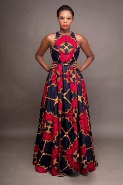 """Oye"" which means throne is geared to bring out the queen in you!  You're sure to feel royal in this beautiful hand-made African -print inspired dress. It's like wearing a work of art for sure.   Round neck  ~60 inches long Fully lined Back zipper 2 side pockets 100% cotton Fabric doesn't stretch Care instructions Hand"