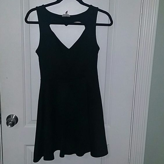 Kirra Heart back skater dress Worn a few times. Stretchy black material. Heart shaped cut out in the back. Kirra Dresses