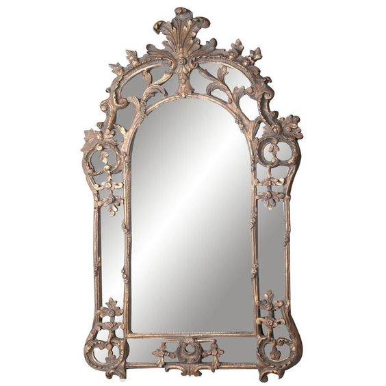 Arch Top Mirror with Leaf Detail 1