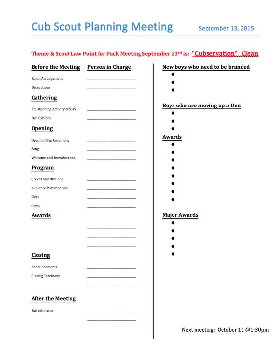 Click here to open a Word Document of this Pack Meeting Agenda you - banquet agenda template