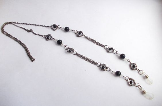 Blue Goldstone eyeglass chain, Eyeglass chain, Sunglasses chain necklace, Reading glasses chain