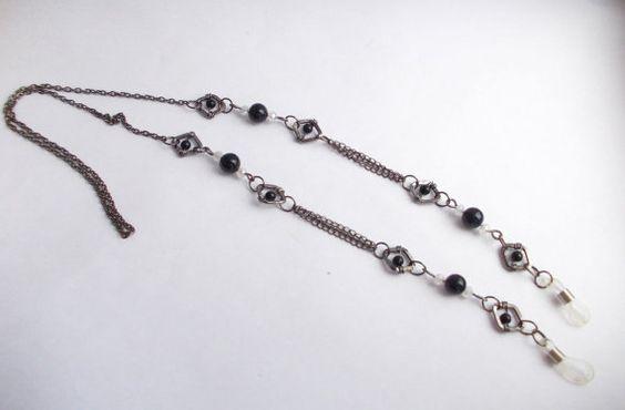 Blue Goldstone eyeglass chain, Eyeglass chain, Sunglasses chain necklace, Reading glasses chain