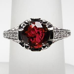 NATURAL RUBY & DIAMOND ENGAGEMENT RING SOLID PLATINUM
