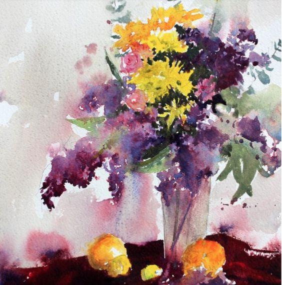 Lilac and lemons by Vinita Pappas: