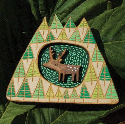 Stag brooch by gabiReith on Etsy