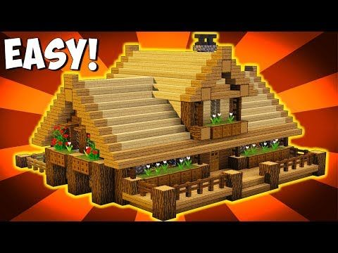Minecraft How To Build Big Wooden House Big Survival House Tutorial Ps3 Ps4 Xbox360 Minecraft Houses Survival Big Minecraft Houses Minecraft House Designs