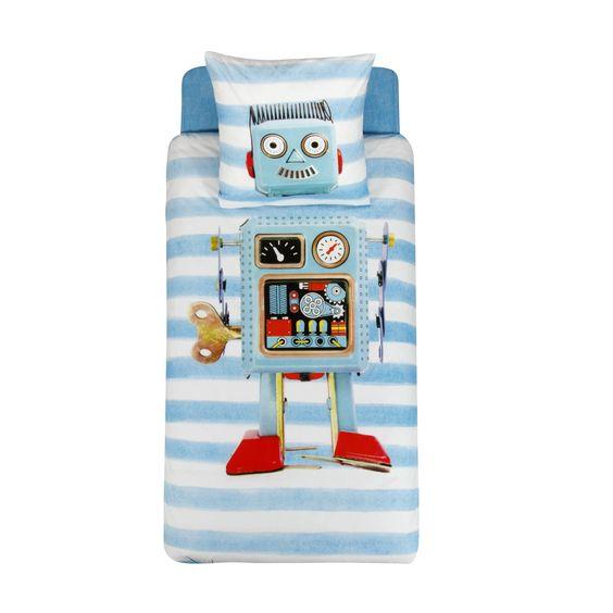 ensemble de linge de lit enfant parure et drap housse bleu imprim robot robi les. Black Bedroom Furniture Sets. Home Design Ideas