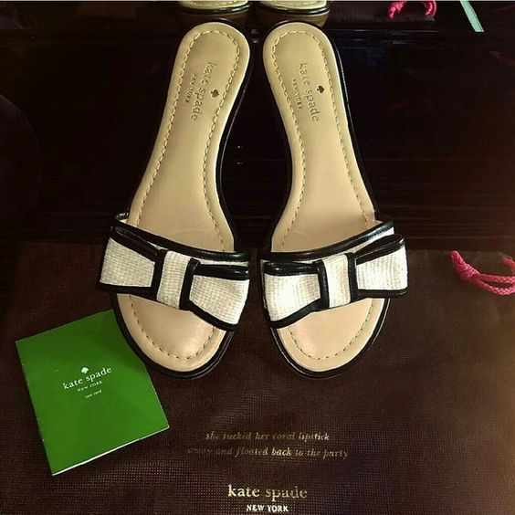 Kate Spade slip on sandals Kate Spade slip on sandals, with bow. Super cute. Only worn a few times! No stains! Size 7 1/2 M. Kate Spade dust bag & care card not included -only for presentation. Feel free to make a REASONABLE offer! No lowballs. :-) all my items are authentic! kate spade Shoes Sandals