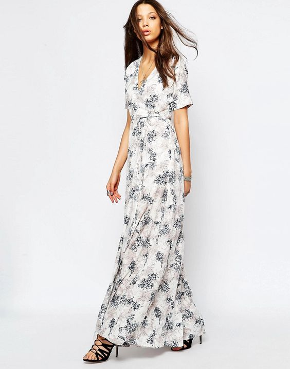 Image 4 of True Decadence Tall Wrap Front Maxi Dress In Allover Floral Print