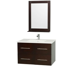 Wyndham Collection Centra 36 in. Single Bathroom Vanity in Espresso with White Man-Made Stone Top with Square Porcelain Undermount Sink and 24 in. Mirror