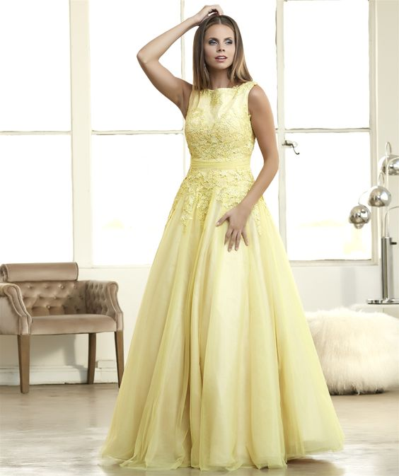 Mac Duggal 62110H Yellow Lace Tulle Ball Gown Prom Dress $499