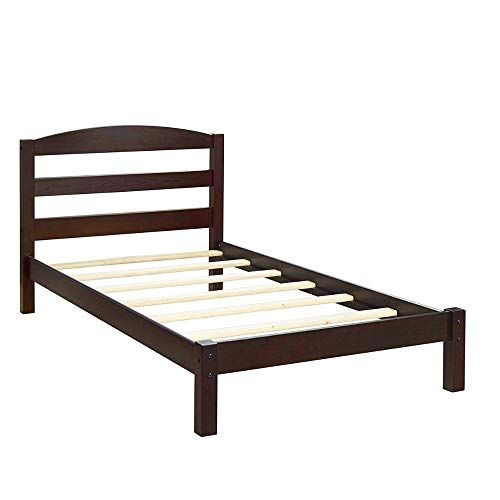 Wood Twin Bed Frame With Headboard Platform Simple Footboard Side