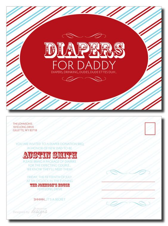 Little red wagon theme - Diaper party invite