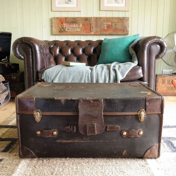 VINTAGE STEAMER travel TRUNK chest CLASSIC car LUGGAGE suitcase ...