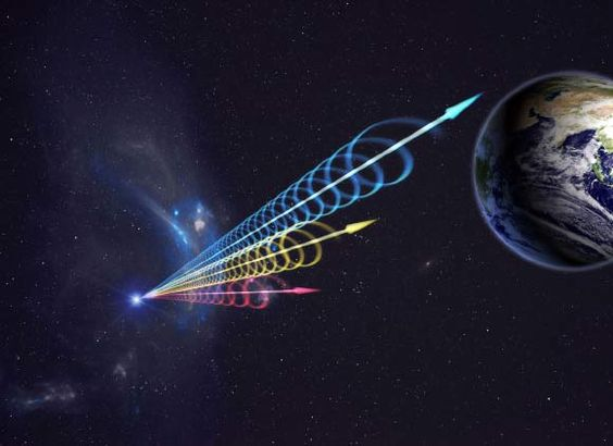 An artist's impression of FRB 110523 reaching Earth; the colors represent the burst arriving at different radio wavelengths, with long wavelengths (red) arriving seconds after short wavelengths (blue). Image credit: Jingchuan Yu / Beijing Planetarium.