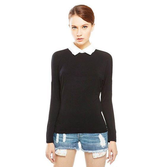 Contrast Collar Long Sleeve Tee (Women) Black/White (wish it had ...