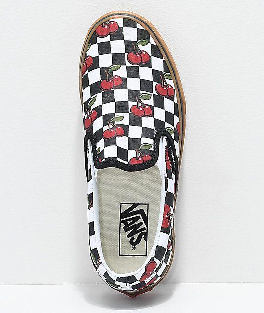 Vans Slip On Cherry Black & Gum Checkered Skate Shoes in