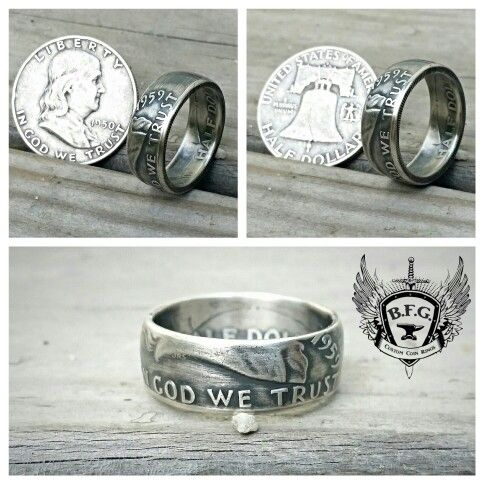 Ben Franklin Silver Half Dollar coin ring. .. check us out on Etsy.com/shop/BFGCustomCoinRings