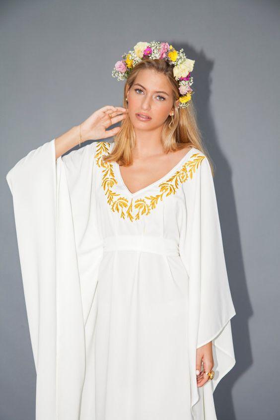 ... Ivoire bref les taille robe caftan robe jaune broderie robe de mariée