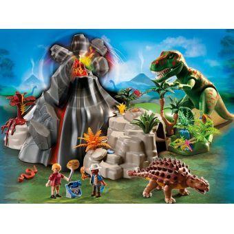 Dinos Tyrannosaure avec volcan