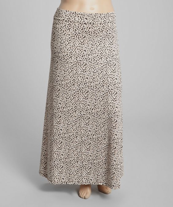 Love this Beige & Black Abstract Maxi Skirt - Plus by GLAM on #zulily! #zulilyfinds