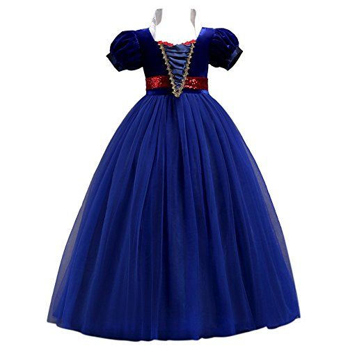 Child Kids Girls Short Sleeve Snow White Fancy Dress Costume Princess Maxi Dress