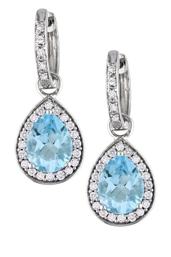 14K White Gold Sky Blue Topaz Teardrop Diamond Huggie Earrings - 0.50 ctw