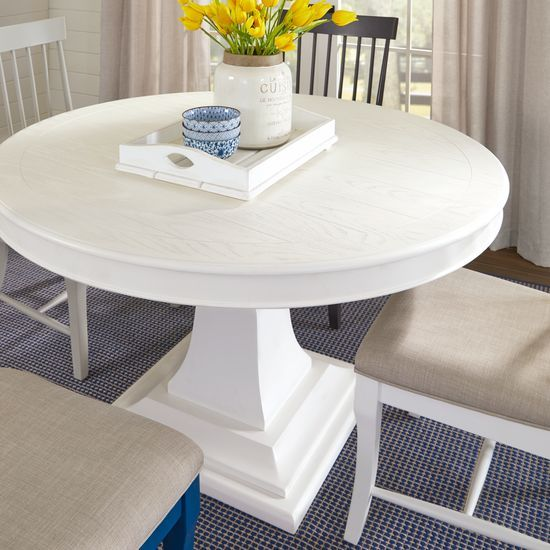Cindy Crawford Home Cape Cottage White Round Dining Table Rooms To Go In 2020 White Round Dining Table Dining Table Round Pedestal Dining Table