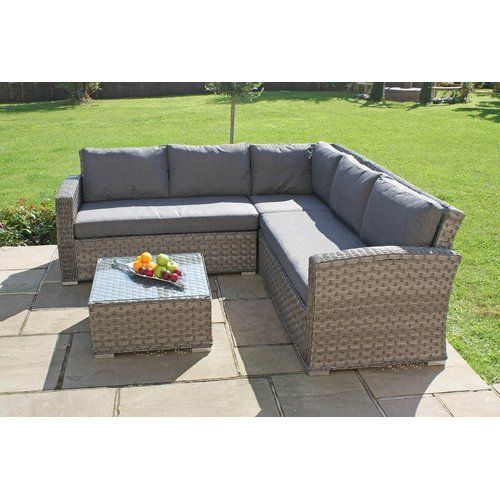 Blaisdell 5 Seater Rattan Effect Sofa Set Lynton Garden Furniture Sofa Set Rattan Garden Furniture Corner Sofa Set