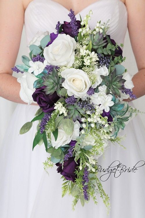 Full Wedding Party Flowers In Purple And Sage Purple Bridal Bouquet Purple Wedding Bouquets Bridal Wedding Flowers