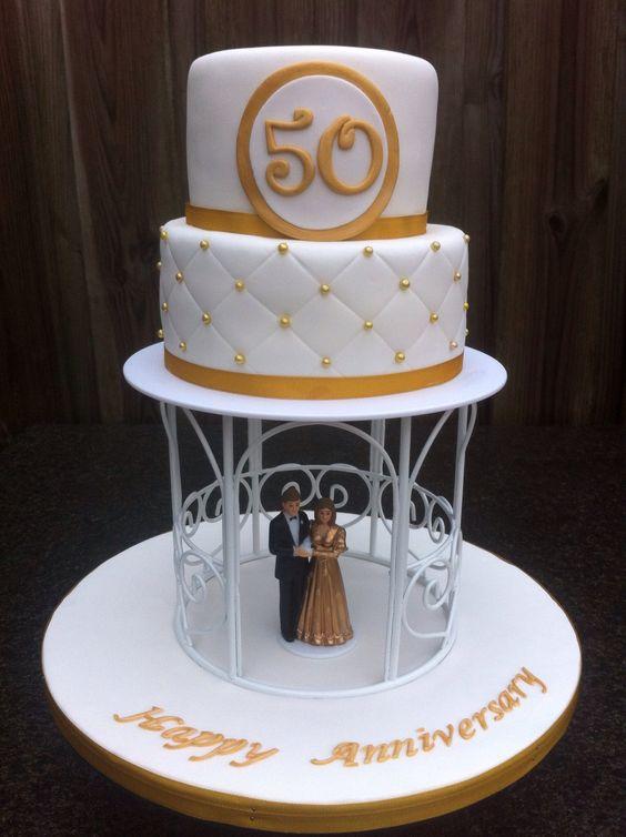 Gouden bruiloft taart www.cakesfromjessica.nl