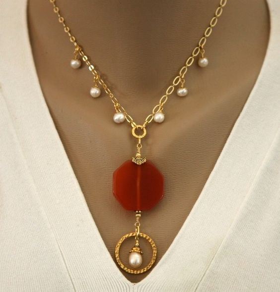 SALE - Carnelian Pendant and Pearl Eyeglass Holder Necklace