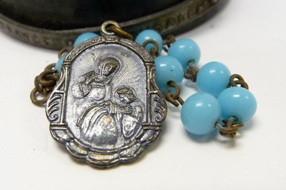 Antique Rosary Finger Pocket Saint Ann Japan by SalvageRelics, $24.00