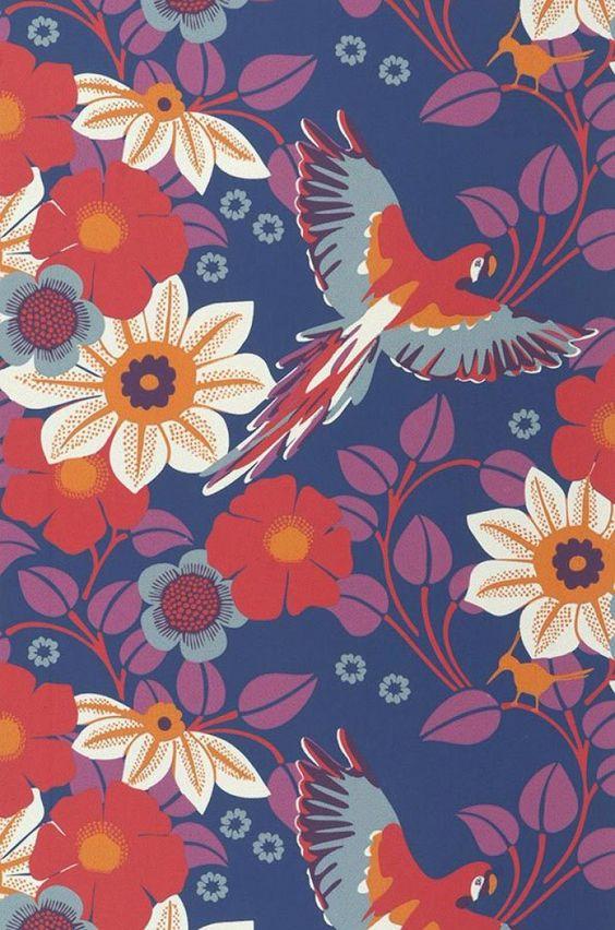 Cecile papier peint floral motifs du papier peint papier peint des ann - Papiers peints des annees 70 ...