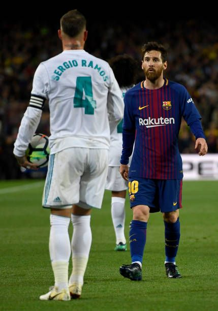Lionel Messi Of Barcelona Argues With Sergio Ramos Of Real Madrid Lionel Messi Messi Sergio Ramos