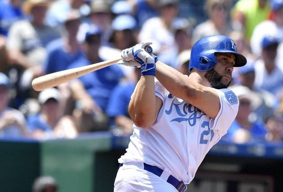 Kansas City Royals designated hitter Kendrys Morales follows through on a single in the fifth inning during Sunday's baseball game against the Detroit Tigers on June 19, 2016 at Kauffman Stadium in Kansas City, Mo.