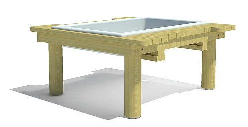 Mesa para jugar con arena con cubeta