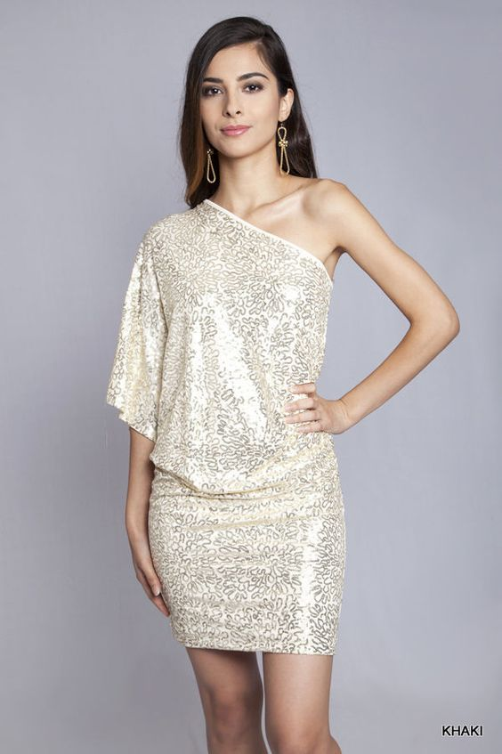 Details about Umgee  Cream Gold Sequin One Shoulder Cocktail Party ...